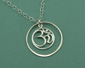 Om Necklace - Sterling Silver Om Jewelry, Yoga Necklace, Ohm Necklace, Lotus Flower Necklace, Zen Jewelry, Buddhist Jewelry, Yoga Gifts