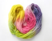 Extra virgin wool yarn hand-dyed, 100 gr, purple pink yellow green - LaFiabaRussa