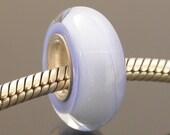 Large hole lampwork bead, silver cored bead, periwinkle, European style charm bead, bracelet bead, large hole charm bead, artisan made