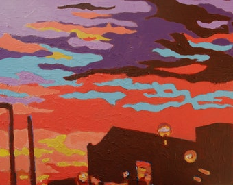 Clouds come to add colour to my sunset sky - Original Acrylic Painting