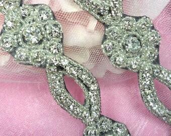 Black Backing Glass Crystal Rhinestone Silver Beaded Floral Sewing Trim (0429-bkcr)