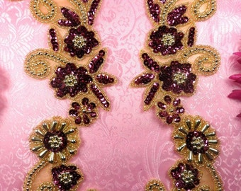 "0183 Mirror Pair Sequin Beaded Appliques Wine Gold 10""  (0183X-glwn)"