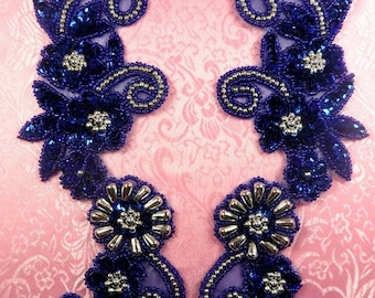 "0183 Royal Blue Silver Mirror Pair Sequin Beaded Appliques 10"" (0183-rbsl2)"