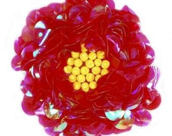 "E250 Crystal Fuchsia Beaded Sequin Applique Flower 2.75"" (E250-CFS)"