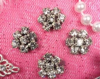 """JB114 Set of ( 4 )Black Backing Flower Crystal Clear Rhinestone Appliques .5"""" (JB114-bkcr)"""