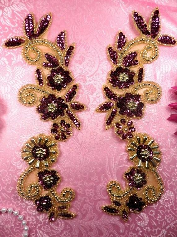 0183 mirror pair sequin beaded appliques wine gold 10