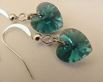 Teal Green Swarovski Heart Crystal Earrings, Crystal Heart Earrings, Swarovski Crystal, Bridal Jewelry, Bridesmaids, Emerald, Turquoise