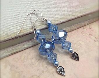 Blue Earrings Crystal Glass Bead Dangle Earrings Sapphire Blue Sterling Silver