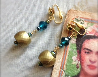 Clip On Earrings Peacock Blue Teal Reclaimed Bead Dangle Earrings - Frida