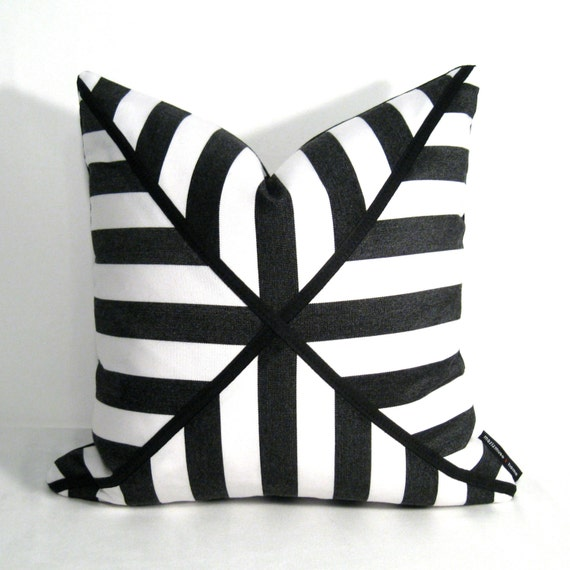Black White Pillow Cover Modern Stripes Indoor by Mazizmuse