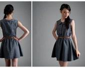 Linen Dress - grey linen dress with peter pan collar, buttons and zipper