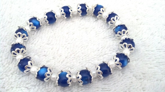 Blue, Silver plated, Bracelet and Earring Set