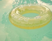 Inviting - Swimming pool art, water photography, mint green and yellow, summer wall decor, bathroom art