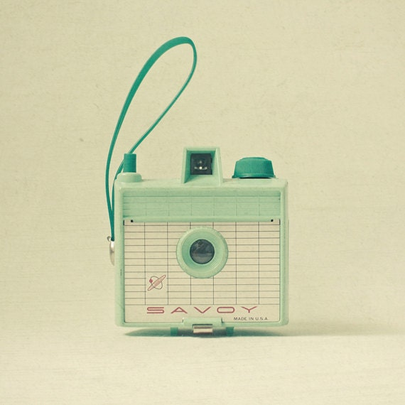 Mint - Camera photo, mint, cream, retro wall art, still life photography, gift for photographer, pastel decor