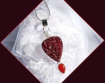 Carnelian Stone - Carnelian Druzy - Sterling - Necklace  DD 8748