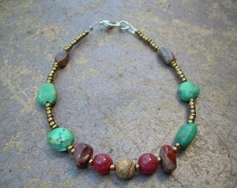 This is a beautiful OOAK Hand made By Me Semi precious Gemstone and seed bead bracelet LAST ONE