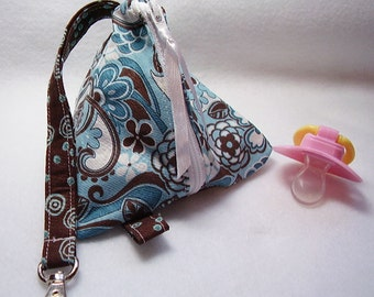 Blue and Brown  Baby Pacifier/Small Bag/ Zippered/Triangle/Pyramid/ Pouch/ Phone Pod/Purse/Coin Purse/Gift Bag/ Wristlet