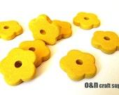 Flower greek ceramic beads, yellow - set of 8
