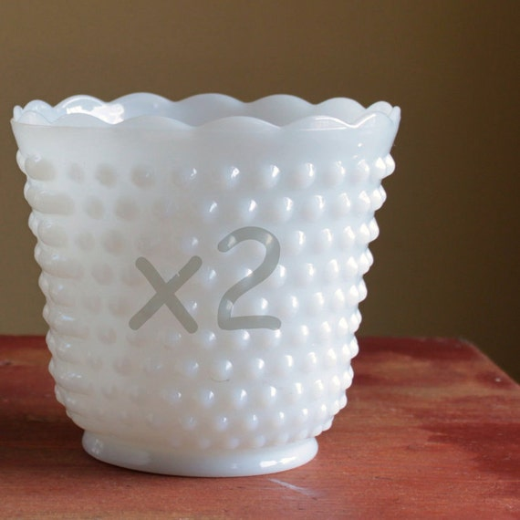 RESERVED FOR LAURA V - Two Larger Vintage Milk Glass Hobnail Planters