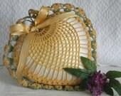 Vintage Crochet Heart Pincushion Mustard Green Ring Bearer Pillow Sewing Collectible Handmade