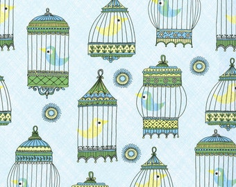 La Cage Au Birdie CW Fabric Menagerie Blue Yellow Birds In Vintage Cages on Blue