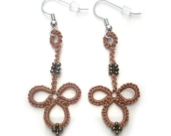 Brown Bohemian Earrings in Mocha - Handmade Lace - Beaded Dangle Earrings - Tatting - Gift For Women - Lace Earrings - Casual Earrings - Fun