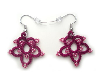 Jewel Tone Tatting Lace Earrings in Boysenberry with Pink Glass Seed Beads; Safe for Sensitive Ears