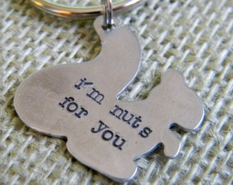 personalized hand stamped custom squirrel key chain