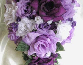 Wedding Bouquet Bridal Silk Flowers Cascade Plum PURPLE LAVENDER WHITE 21 Pc Package Free Shipping Decorations
