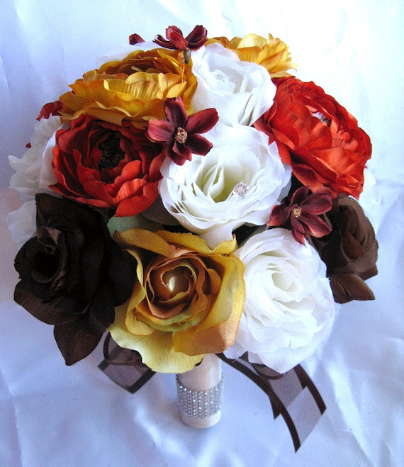 Silk Orange Fall Flowers: Free Shipping Wedding Bouquet Bridal Silk By Rosesanddreams