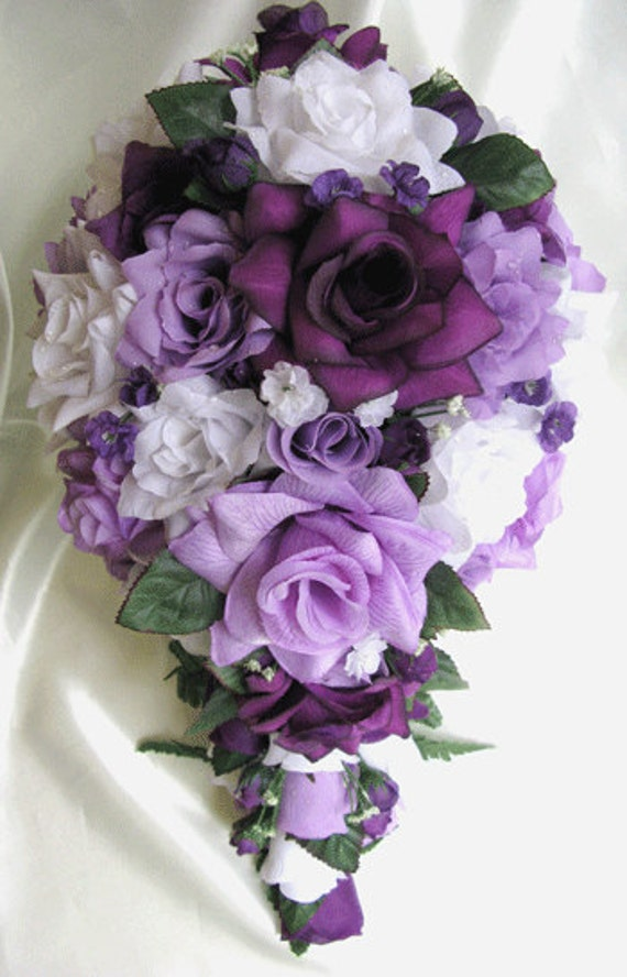 Wedding bouquet bridal silk flowers cascade plum purple for Bouquet de lys
