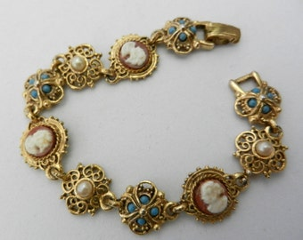 1950s Excellent bracelet - with pearls, turquoise and  cameo -signed ART Copyright -Art.483/2--
