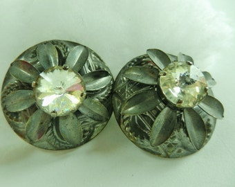 Original Italian large Earrings, Vintage 1970 - great shape and bright crystals on gunmetal finish - Art.593/2 -