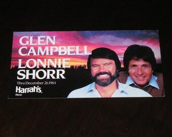 Unused Picture Postcard Glen Campbell Lonnie Shorr Harrah's Reno Nevada 1984