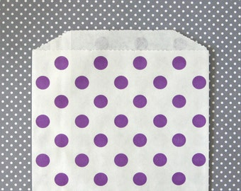 Purple Polka Dot Goody Bags / Favor Bags / Treat Bags (20) - 5 x 7.5 inches