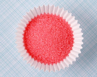 Fine Coral Sanding Sugar, Coral Cookie Sugar, Wedding Sanding Sugar, Cupcake Toppings - SMALL BAG - 2 ounces
