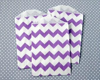 SALE: Little Purple Chevron Paper Bags (20)