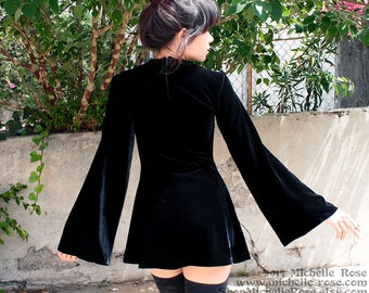 Black Velvet Witchy Dress - Witch Minidress -  Extra Small Medium Large - Sixties Mod Goth Dress