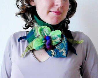 felted artistic green spring eco friendly collar scarf