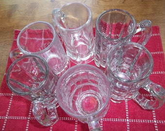 SALE - Vintage - Beer Mugs - 6 -   Bar Ware - Clear Glass - Various Designs - Heavy Stines