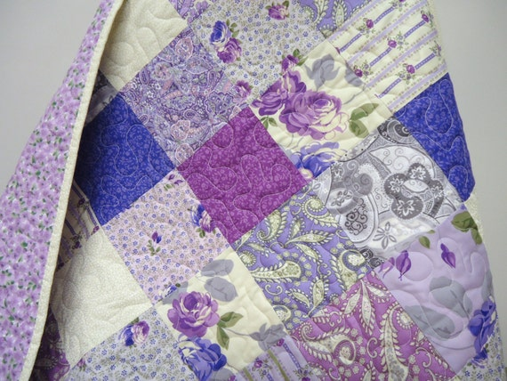 Lap Quilt Shabby Chic Quilt Baby Bedding Purple
