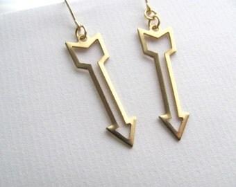 Small arrow earrings, geometric cutout on 14k gold fixtures