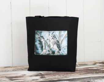 Shakespeare - The Bard Owl of Boston - Black or Natural Canvas Bag - Carryall Tote - Barred Owl
