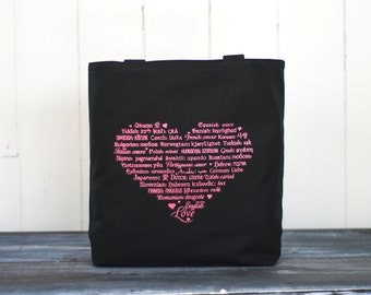 "CLEARANCE ~ LOVE Languages Tote - Pink Ink on Black - Canvas Bag - Carryall Tote - Mother's Day - Anniversary -More info in ""Item Details"""