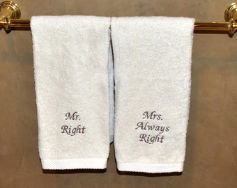 Mr Right And Mrs Always Right  Organic Cotton 2 Piece Hand Towel Set