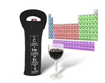 Periodic Table Wine Carrier / Tote Cheers neoprene reusable