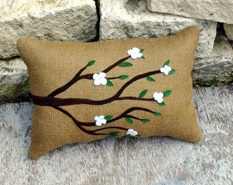 Burlap Spring Tree Branch with Appliqued Leaves and Flowers