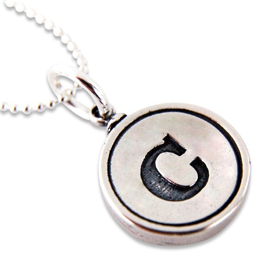 Sterling Silver Initial Typewriter Key Charm Necklace - Gwen Delicious Jewelry Design - Other Letters Available