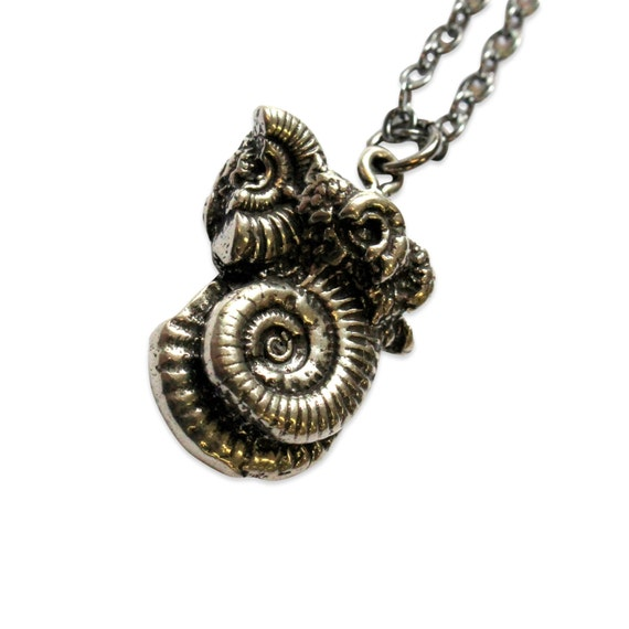 Silver Ammonites Fossil Necklace