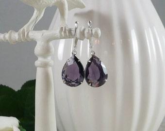 Estate Style Earrings in Purple Teardrops
